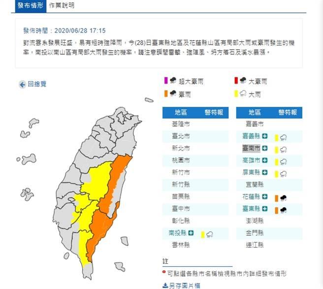 氣象局發布7縣市豪大雨特報。(中央氣象局)