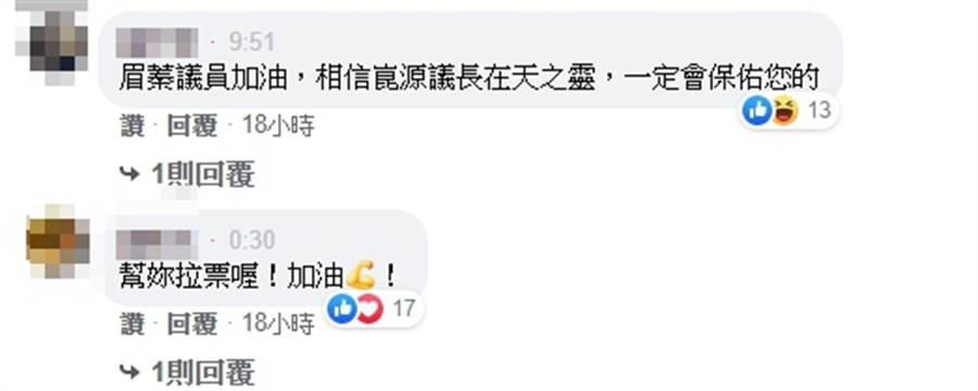 網友在李眉蓁臉書留言加油。(圖/翻攝 李眉蓁臉書)