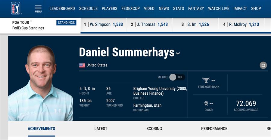 美國高球選手桑默海斯決定提早轉換跑道,接下來要擔任高中老師兼高球教練。(截自PGA官網)