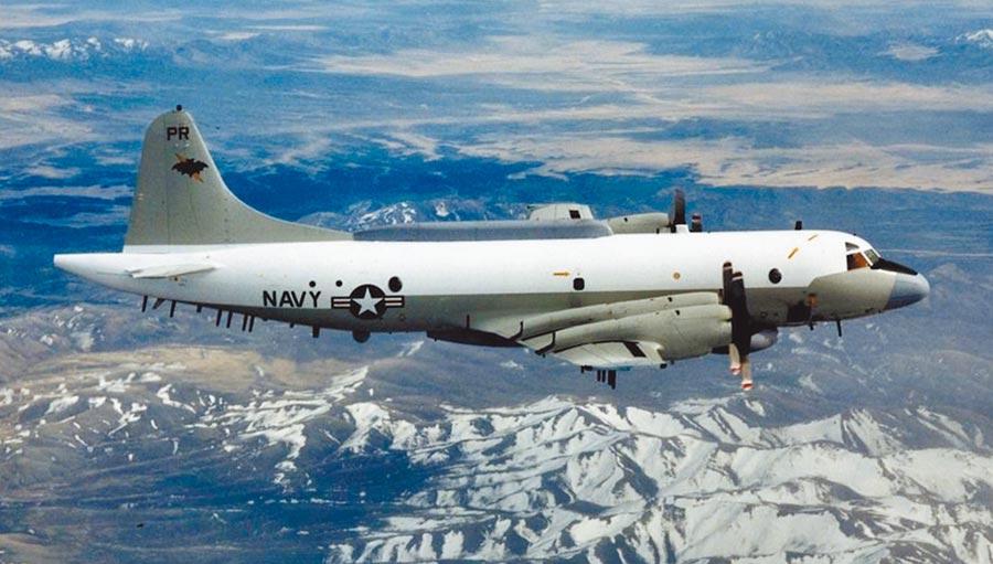 美國海軍一架EP-3E電子偵察機27日經巴士海峽進入南海巡弋。圖為EP-3E電子偵察機。(摘自美國海軍網站)