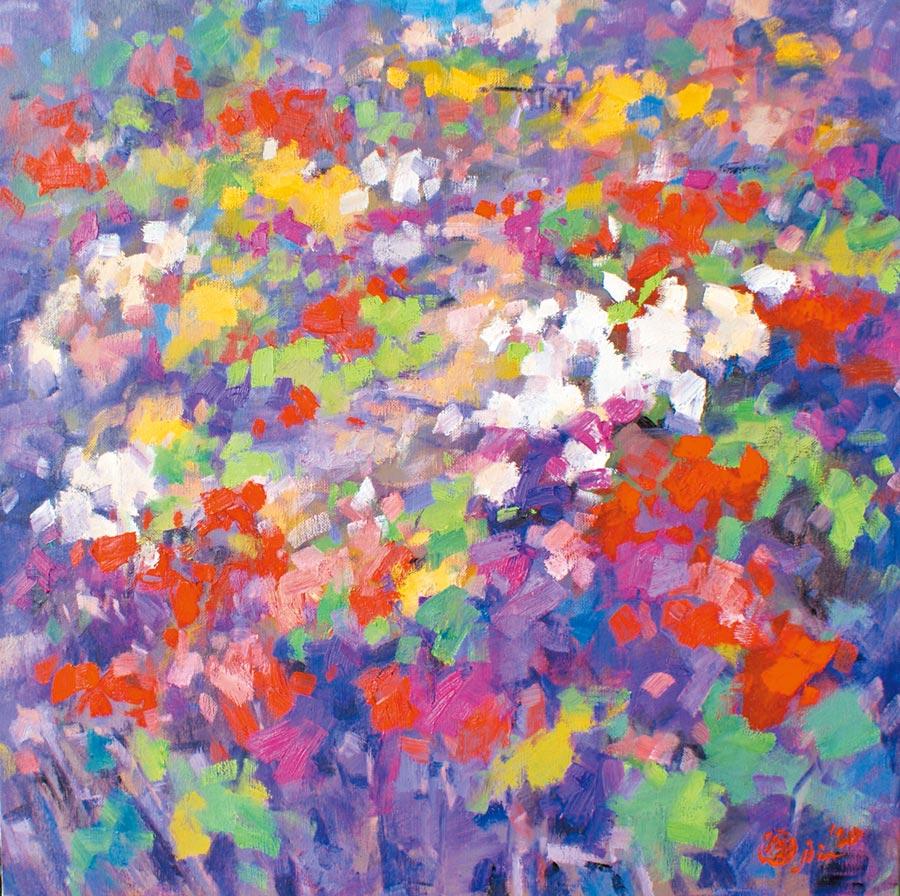 潘蓬彬,《與抽象的距離》,油畫,100  x 100cm。圖片提供/潘蓬彬
