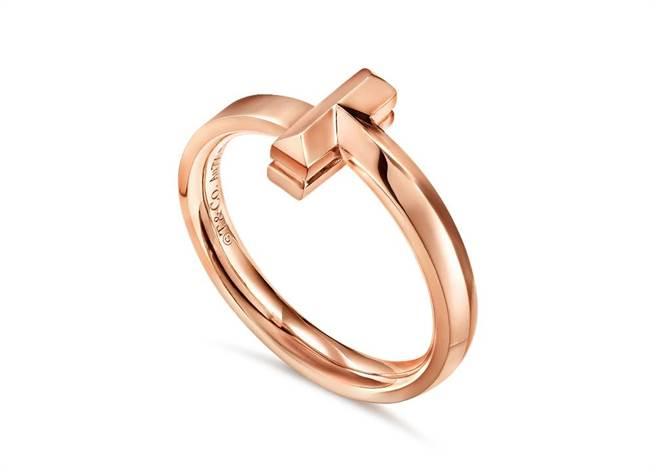 Tiffany T1玫瑰金窄版戒指,3萬元。(Tiffany & Co.提供)