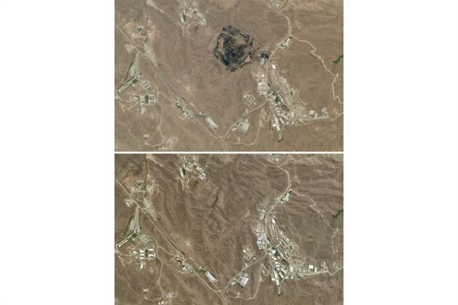 歐洲哨兵-2號衛星拍攝到的照片顯示,德黑蘭東部山區近日出現一大片焦黑,顯示爆炸威力相當大,可能是地下導彈工廠發生意外。上圖為爆炸後,下圖為爆炸前。(圖/美聯社)