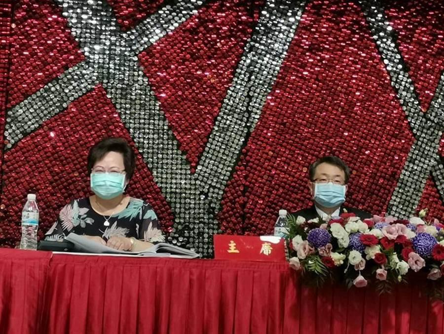 右起東森國際董事長廖尚文、副總經理鄭應娜在股東會上。圖/張佩芬