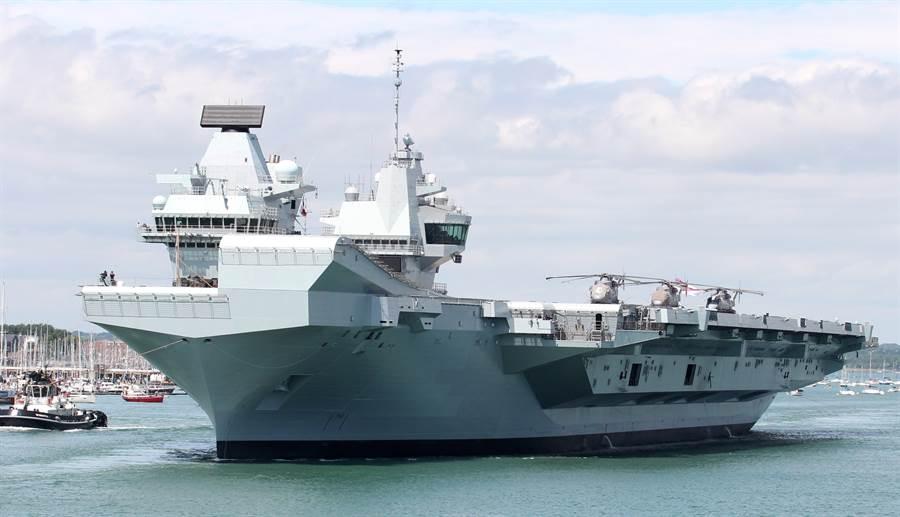 英國皇家海軍「伊莉莎白女王」號航母的資料照。(達志影像/Shutterstock)
