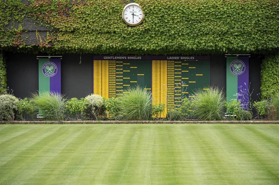 全英草地網球俱樂部今年因為新冠肺炎取消比賽,所幸獲得高額理賠,不過明年就沒有保險了。(美聯社)