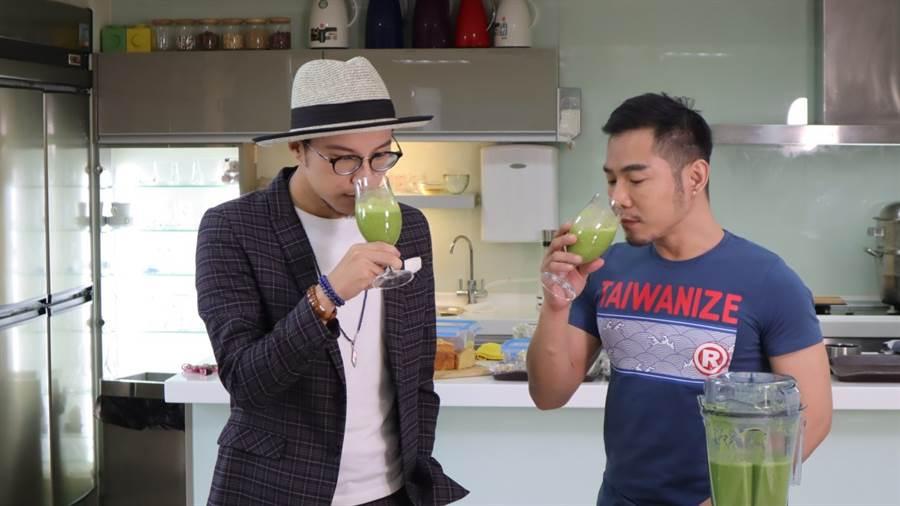 跨界時尚達人PJ CHEN及室內設計師William享用親手調理的綠拿鐵/大侑提供