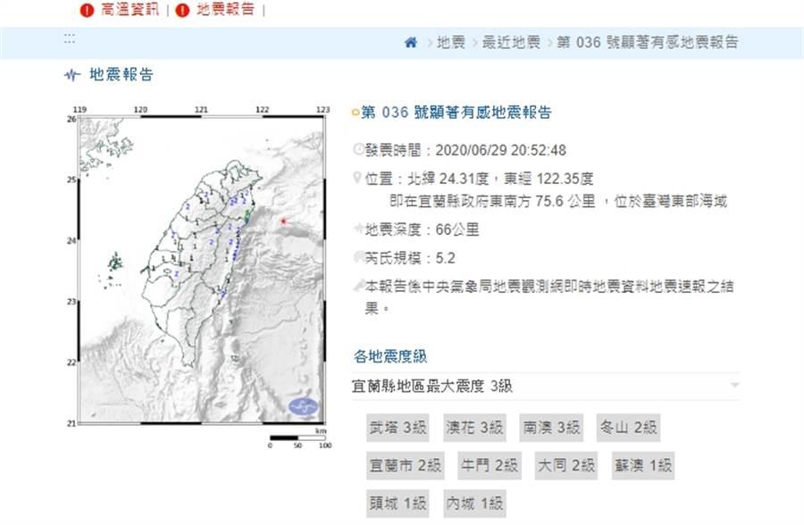 宜蘭外海晚間發生規模5.2地震。(摘自中央氣象局)