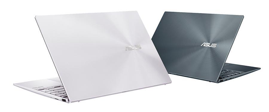 ASUS ZenBook 14重量僅1.13公斤,配備完整連接埠及快充技術,出門辦公輕便又省電,3萬5900元起。(華碩提供)