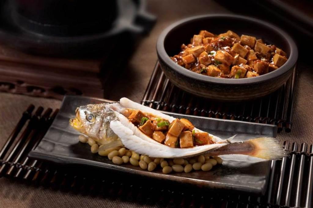 燒拌陳黃魚麻婆豆腐。(圖/日台南大員皇冠假日酒店提供)