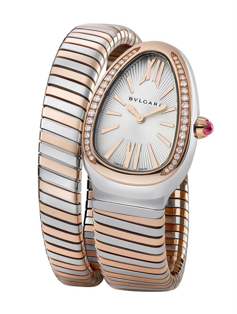 寶格麗Serpenti Tubogas玫瑰金精鋼單圈鑲鑽腕表, 41萬3400元。(BVLGARI提供)