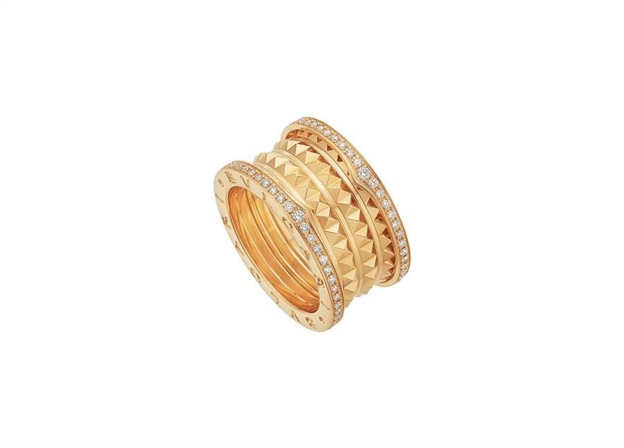 寶格麗B.zero1 Rock系列黃K金四環鑲鑽戒指,23萬3200元。(BVLGARI提供)