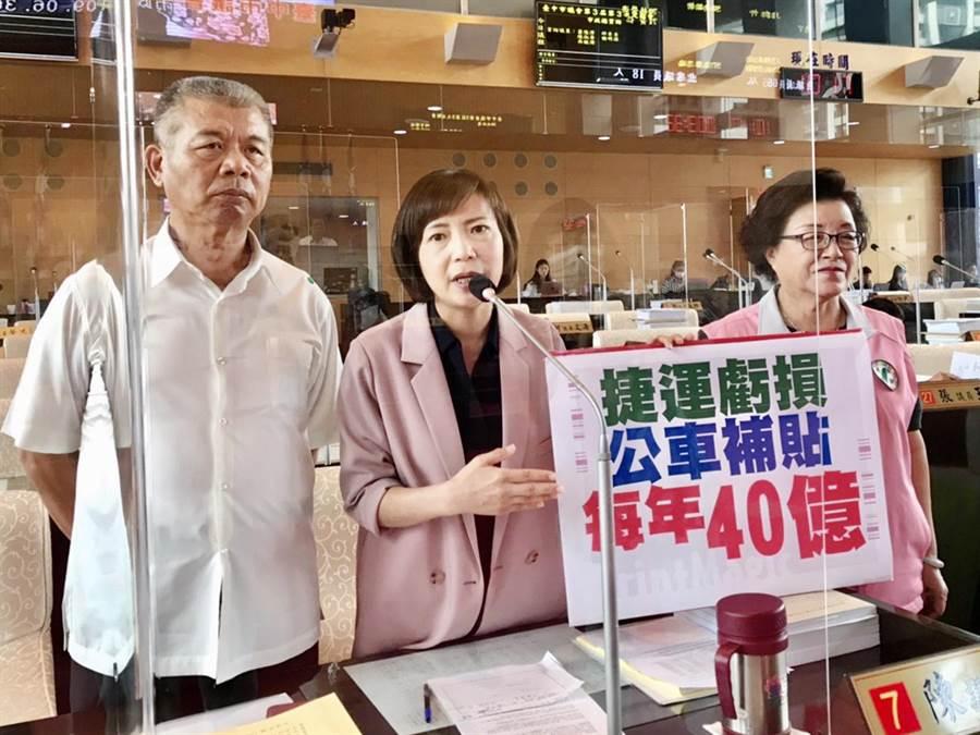 市議員蕭隆澤、陳淑華、邱素貞(由左至右)等人,要求應妥善規畫捷運、公車整合營運模式,避免形成財務黑洞。(陳世宗攝)
