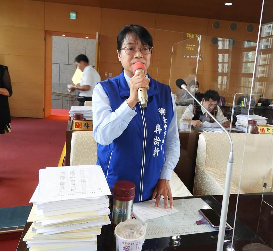 市議員冉齡軒於今天質詢時,詢問市長盧秀燕對同仁靜坐、絕食的看法?(陳世宗攝)