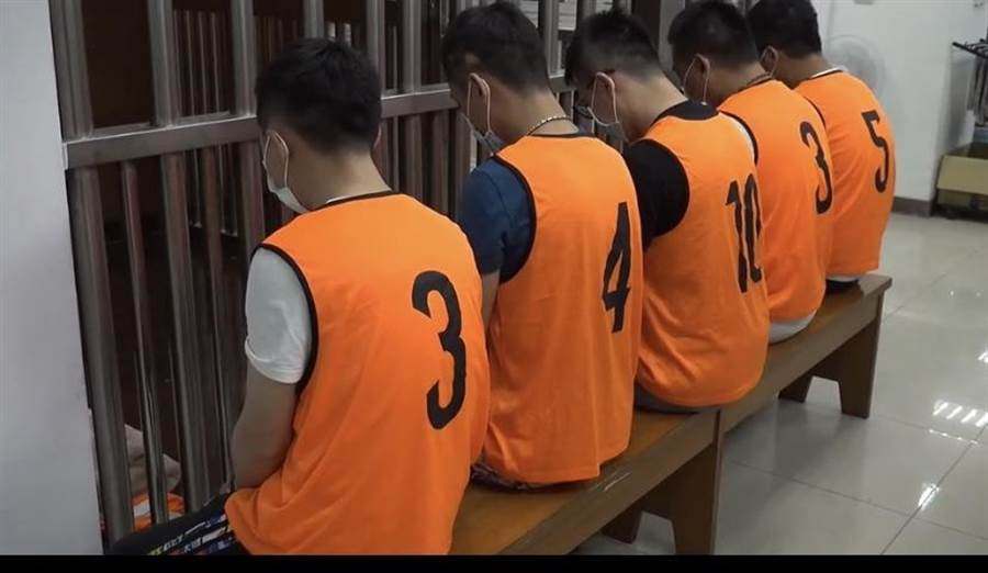 台中市警方30日上午8時10分在西屯區拘提蔡姓主嫌及劉姓共犯到案。(翻攝影片/盧金足台中傳真)