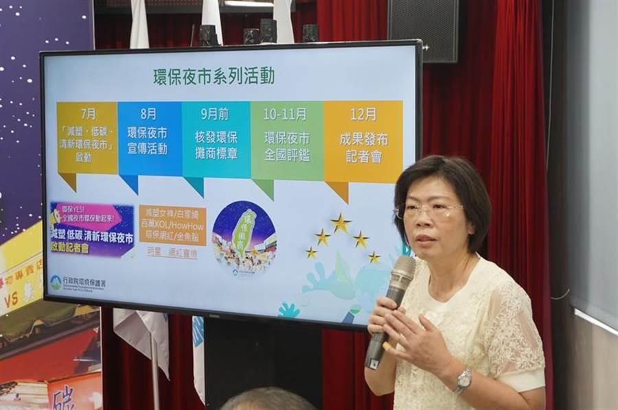 (廢管處長賴瑩瑩說明環保夜市系列活動推動期程。圖/環保署提供)