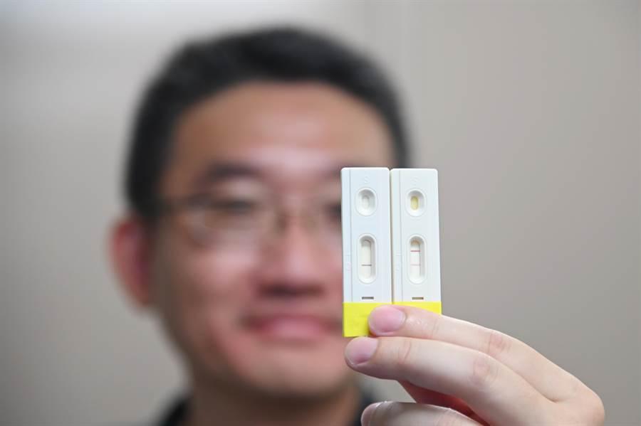 清華大學研發出的新冠肺炎快篩試片,左邊有2條線,顯示患者將轉為重症,右邊1條線則為輕症。(清大提供/邱立雅竹市傳真)