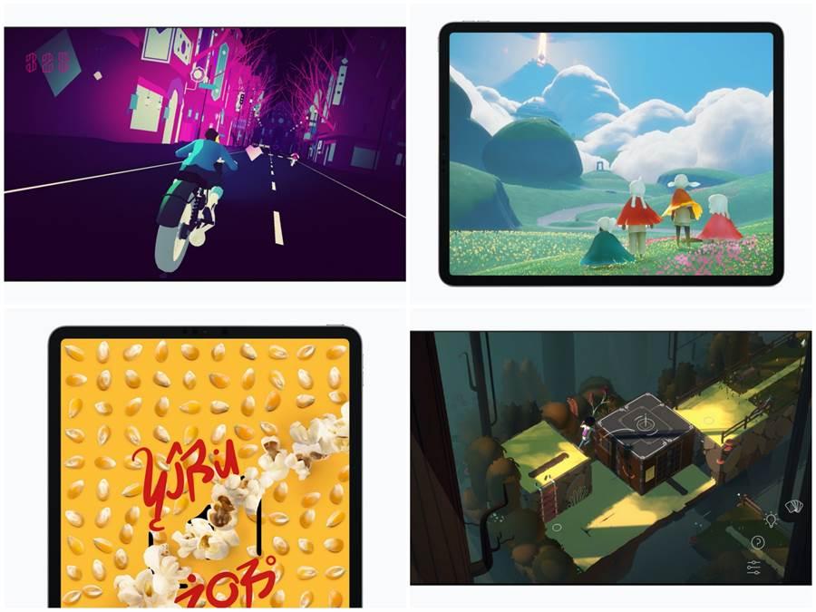 由左至右、上至下分別是《Sayonara Wild Hearts》、《Sky光•遇》、《Song of Bloom》、《Where Cards Fall》遊戲的介紹圖片。(摘自蘋果官網)