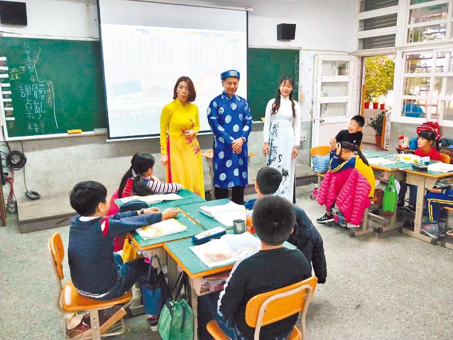 雲林縣四湖鄉三崙國小新住民子女占三分之一以上,校方特別開設越南語文特色課程。(三崙國小提供/張朝欣雲林傳真)