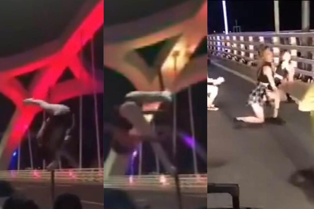 大陸廣東網紅橋出現一群狂妄民眾罔顧交通安全,大跳熱舞。(圖/蘇育宣翻攝澎湃新聞)