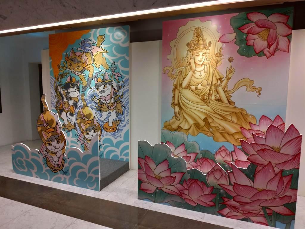 「祈福漫畫特展」的大型立體拍照區布景,從日本海運來台。(圖由世界宗教博物館提供)