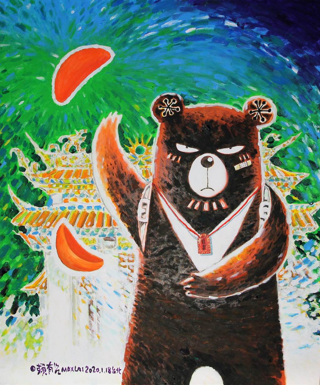 賴有賢特別創作〈龍山寺的聖杯〉作品。(圖由世界宗教博物館提供)