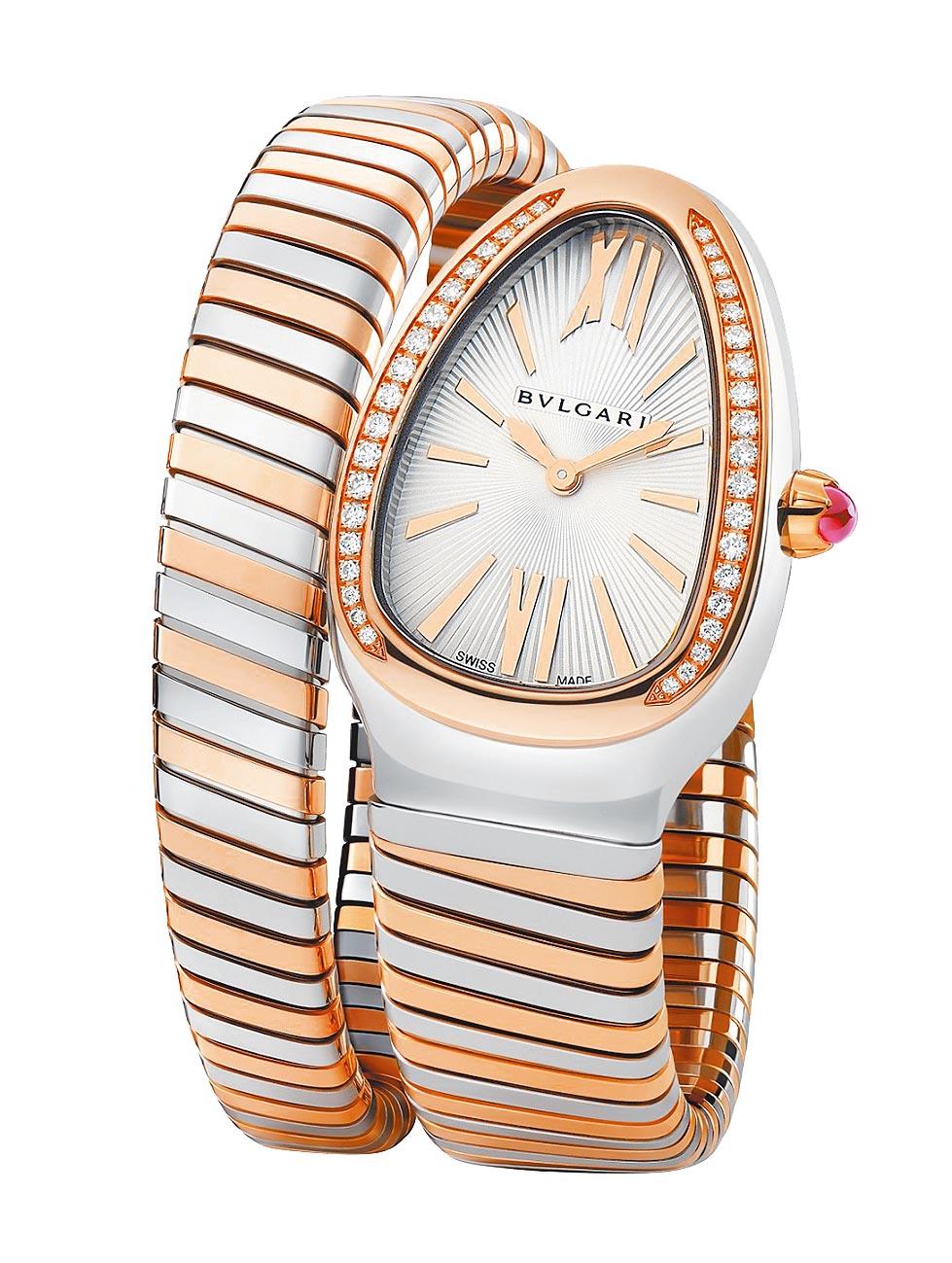 寶格麗Serpenti Tubogas玫瑰金精鋼單圈鑲鑽腕表,41萬3400元。(BVLGARI提供)
