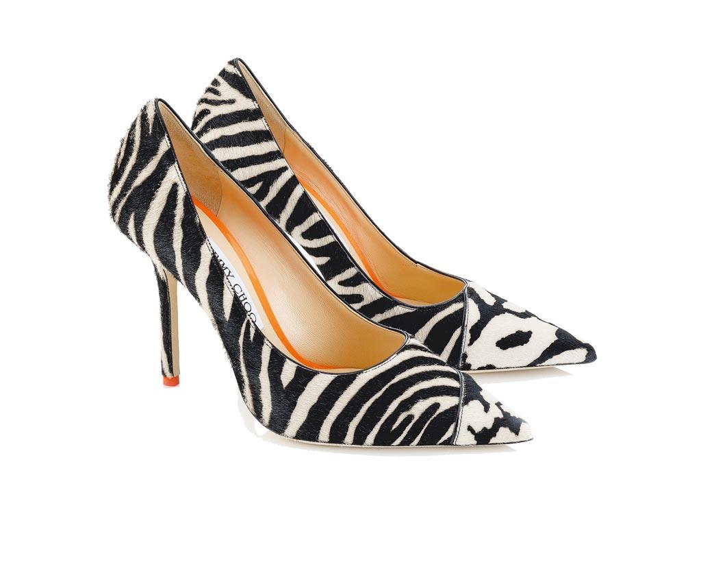 Jimmy Choo斑馬紋高跟鞋,3萬6800元。(Jimmy Choo提供)