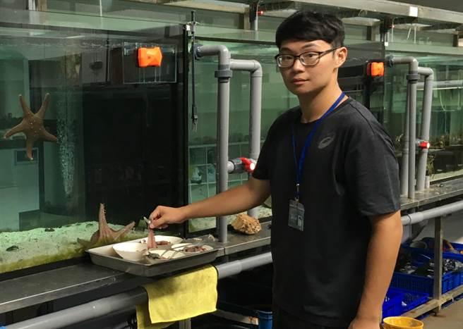 陳冠霖同學協助海洋生物(海星)養殖體驗。(教育部提供)
