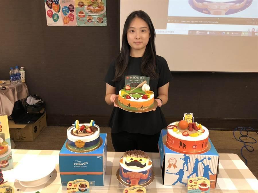 美食-KY旗下85ºC搶攻父親節商機,今年加碼推出四款「樂活老爸」的造型蛋糕。(美食提供)