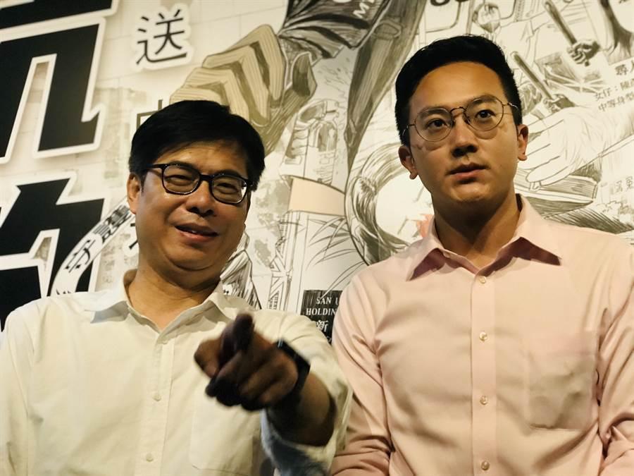 民進黨高雄市長補選參選人陳其邁(左)要對手國民黨李眉蓁,思考6月6日罷韓意義,大家不喜歡回到過去及過去作法。(張穎齊攝)