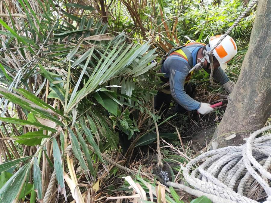 施工人員至山壁邊坡確認落石位置,後續將針對落石區域進行補強。(公路總局提供/許家寧基隆傳真)