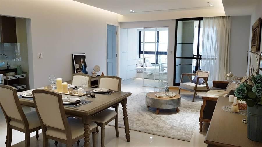 「台北灣NO.6 江南大宅」與特力集團合作,提供住宅全室裝潢、系統櫃、家電、床組一次到位。(業者提供)