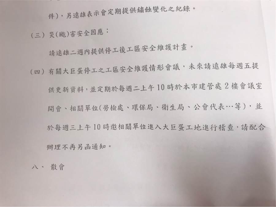 簡舒培出示資料指出,都發局早在2015年5月10日的大巨蛋維護會議結論,要求大巨蛋停工必須每周更新維護資料。(簡舒培提供/譚宇哲台北傳真)