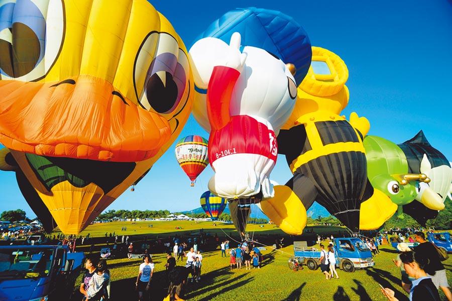 熱氣球嘉年華將於7月11日登場,最受歡迎的外國造型球,今年將有28顆造訪台東。(莊哲權攝)