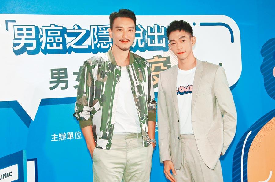 王陽明(左)和王可元昨出席衛教活動,兩人也因此上了一課,對HPV預防更加了解。(羅永銘攝)