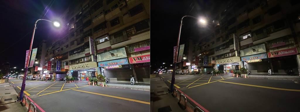 Sony Xperia 1 II(左)與iPhone 11 Pro Max超廣角鏡頭夜拍對比。(黃慧雯攝)