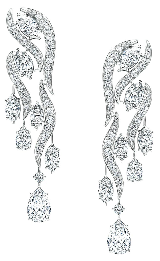 海瑞溫斯頓Water系列River鑽石項鍊和耳環套組,約7481萬元。(Harry Winston提供)