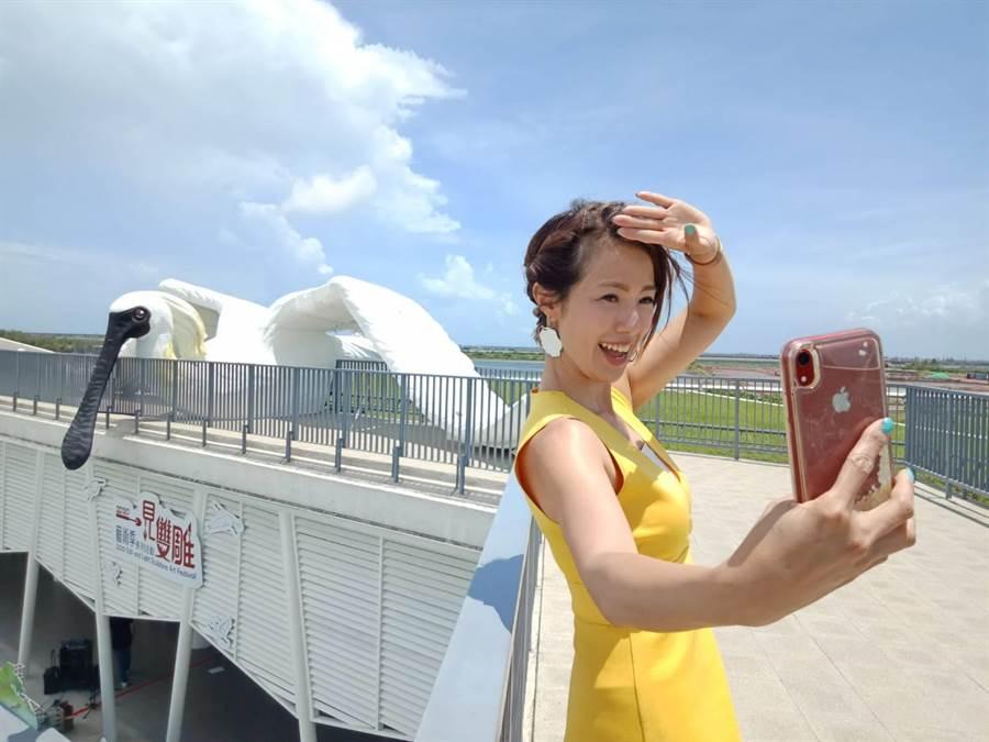 台南市七股遊客中心2樓觀景平台的巨型黑面琵鷺高度近4公尺、翼展約16公尺,為11日登場的一見雙雕藝術季暖身,將成為新的拍照打卡景點。(莊曜聰攝)