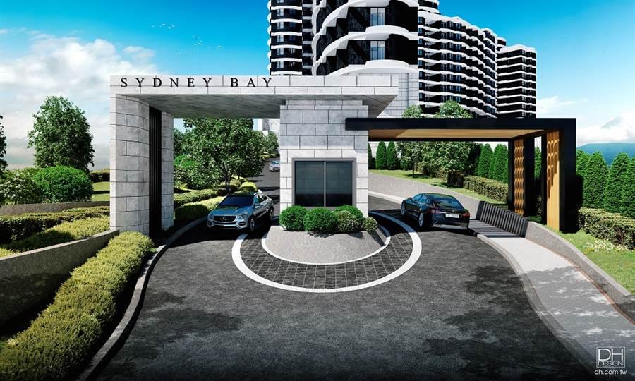 圖為3D透視示意圖,「台北雪梨灣」正門出入口。/台北雪梨灣提供
