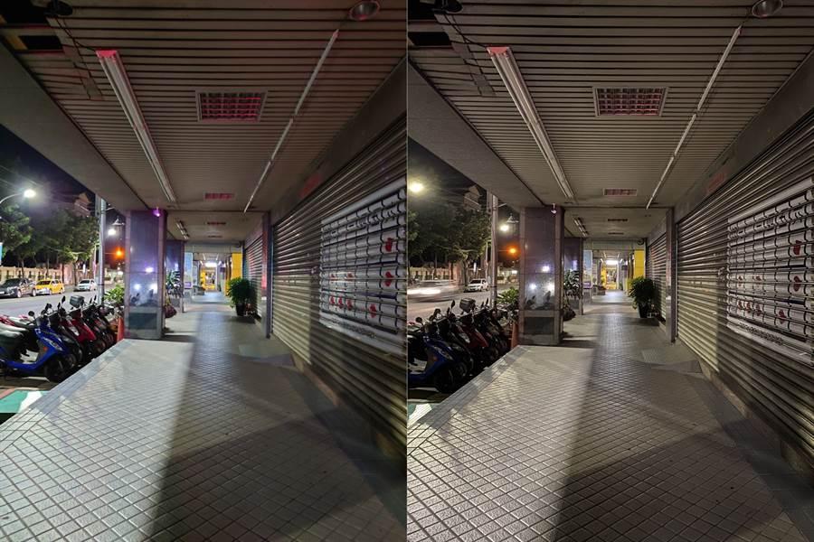 Sony Xperia 1 II(左)與iPhone 11 Pro Max夜拍對比(2)。(黃慧雯攝)