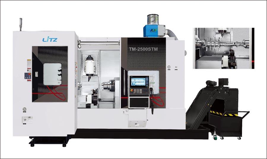由台灣麗馳研發上市的車削複合加工機TM-2500STM,可讓客戶獲得最滿意的加工技術(右上)。圖/業者提供
