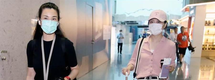 「東南衛視」駐台記者艾珂竹(左)及盧薔(右)被指控違反相關規定,並遭廢止記者證及入境許可,兩人3日搭機離台。(范揚光攝)