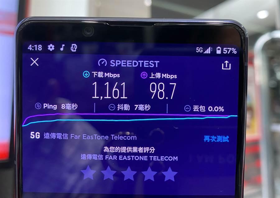 遠傳電信今日5G服務開賣,限定門市可體驗5G測速。(黃慧雯攝)