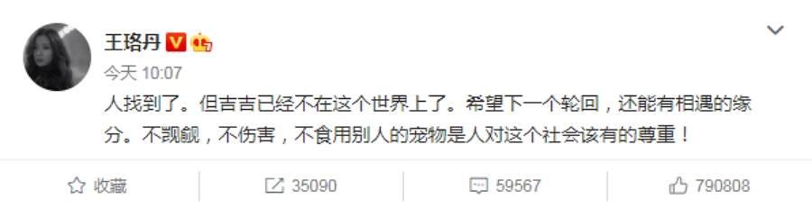 不過,才過一個晚上,王珞丹今(3)日早上10點多更新吉吉消息,表示已經找到抓鴨者,「吉吉已經不在這個世界上了」。(圖/ 摘自王珞丹微博)