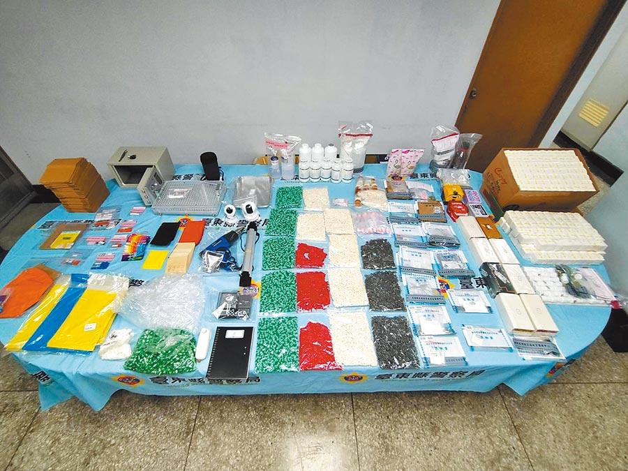 台東地檢署在林嫌住處查獲各種新興毒品及販毒工具(台東地檢署提供/莊哲權台東傳真)