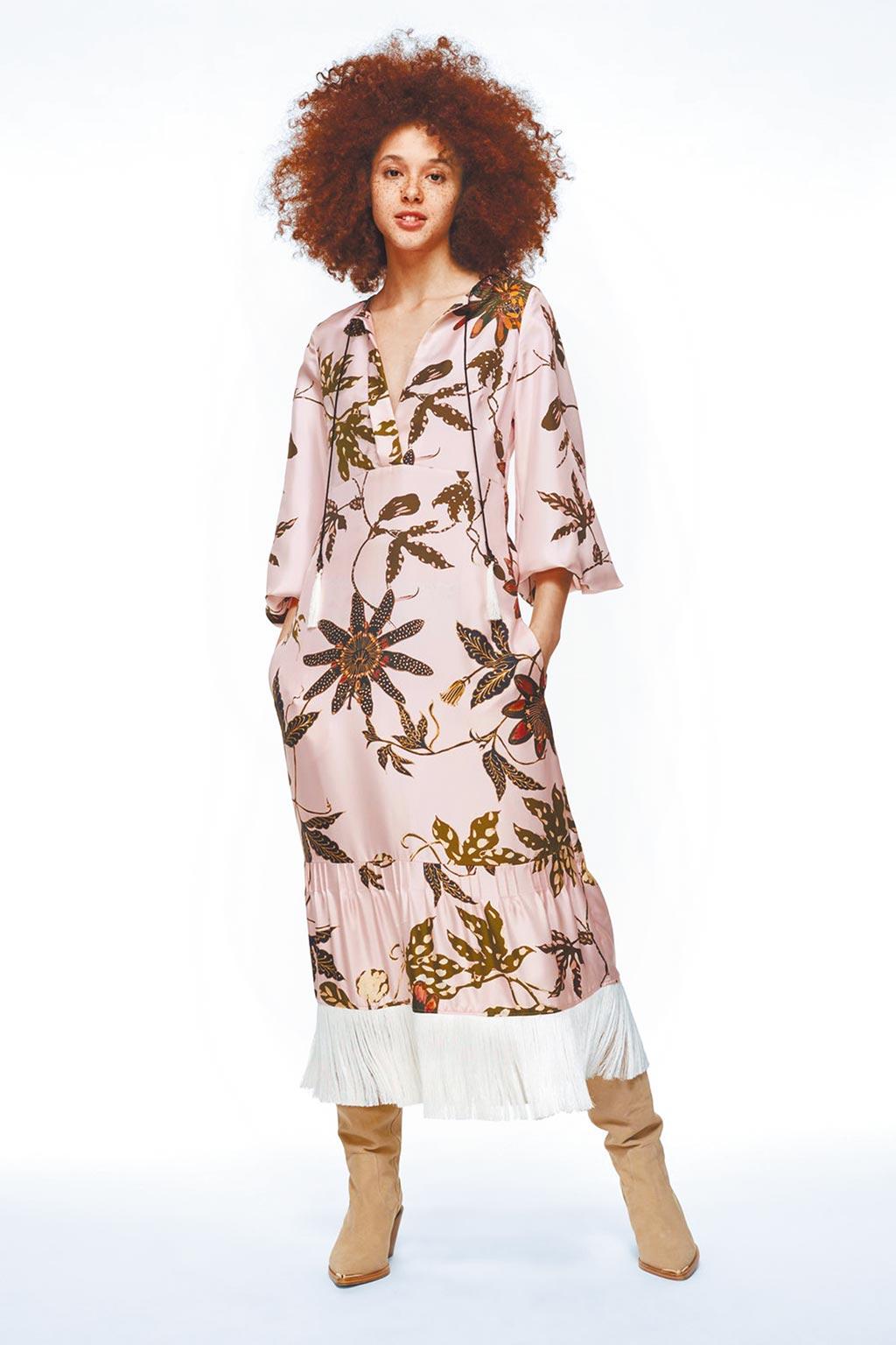麗晶精品獨家INLUXE CASA Dorothee Schumacher花卉流蘇洋裝(玫瑰粉),4萬1500元。(麗晶精品提供)
