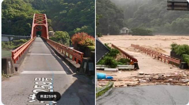 日本網友拍到球磨川鋼構橋被大水沖斷。(取自推特)