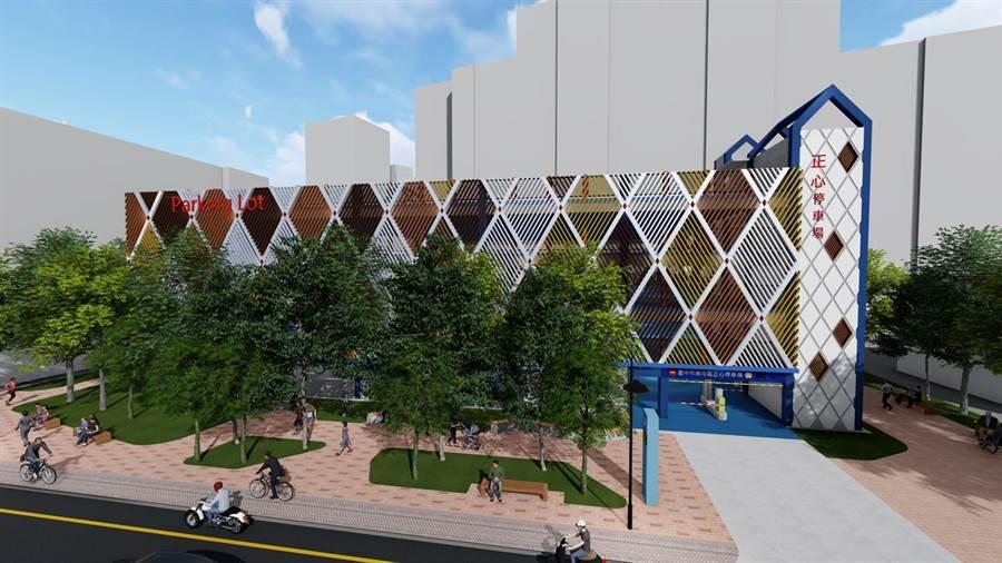 南屯區正心停車場將改建為立體停車場,交通局做出3D模擬建築。(市府提供/林欣儀台中傳真)