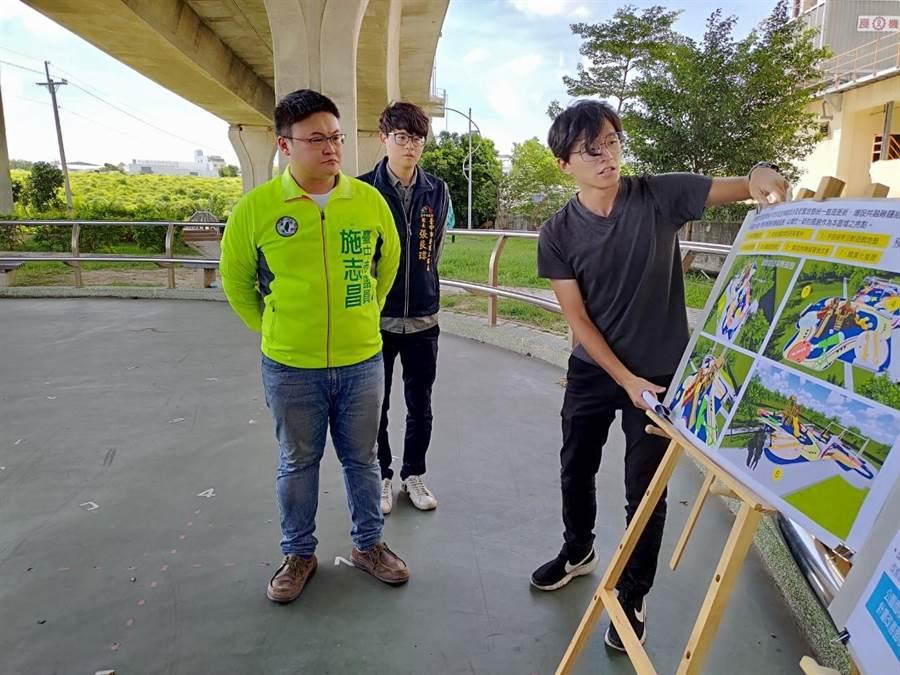 市議員施志昌將爭取修復二高橋下漏水問題,還給親子更好的遊樂環境。(陳淑娥攝)